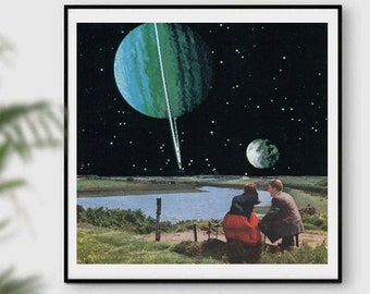 Couple print, Saturn poster, Moving in gift, Universe art