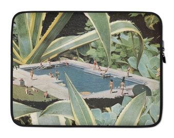 Green Laptop Sleeve, Botanical art laptop sleeve, Laptop bag, Macbook pro bag, Macbook air bag, 13 inch, 15 inch