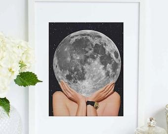 Moon art print - La Luna art poster - La Luna Print, Moon Poster, La Luna Wall Art, La Luna, Full Moon Print, Moon Art Print,