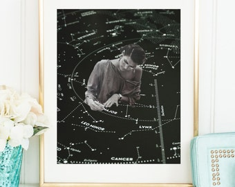 Zodiac Art Print - Leo constellation - Astrology sign collage art