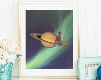 Large wall art -  Planet prints - Nothern lights - Saturn print