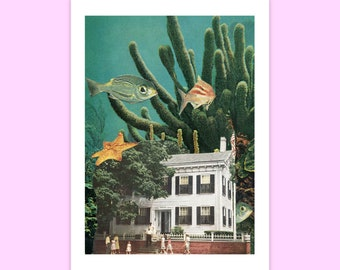 Fish art print, Underwater art, Nursery print, Fantasy art
