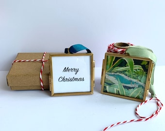 2020 Christmas ornaments gift, Personalised ornament art, Stocking filler for men and women, Small framed art