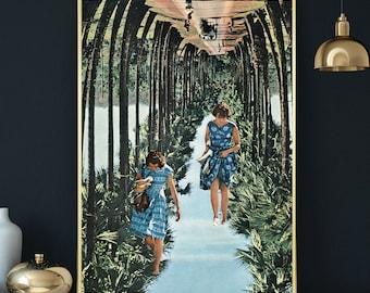 Palm tree print, Palm tree wall art, Tropical art, Boho art illustration, Retro, vintage, Modern wall art decor