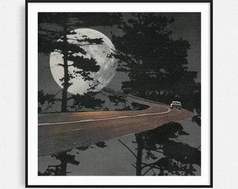 Vintage car prints, Black and white print, Full Moon poster, Minimalist art, Gift for car lover, Gift for him