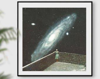 Nebula wall art, Space art, Astronomy print, Prints, Posters, Square art, Blue wall art print