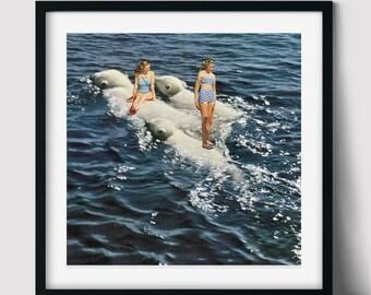 Polar bear print, Winter wall art decor, Sea art print