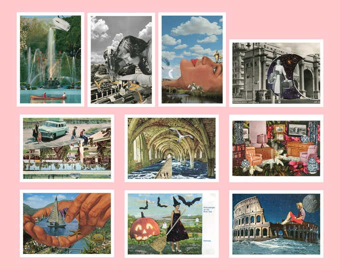 Featured listing image: Pack of 10 postcards - A6 postcards - Small art prints - Vintage travel postcards up-cycled - Christmas stocking filler