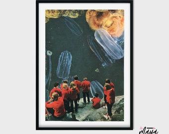 Underwater art, Jellyfish art, Large prints, 16x20 art, Contemporary art