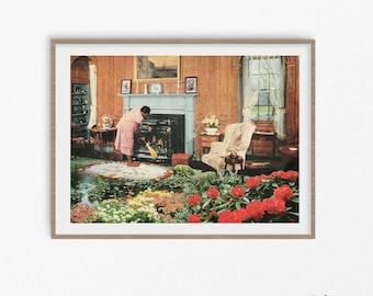 Botanical prints, garden prints, floral poster, modern art, fine art, collage prints, retro art, vintage