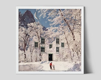 Winter snow print, White and blue prints, Square print