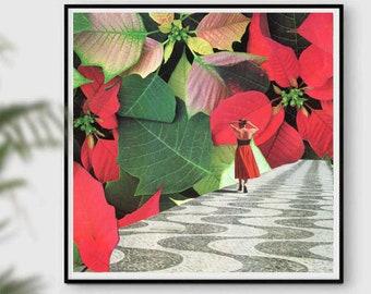 Red wall art, leaf print, autumn prints