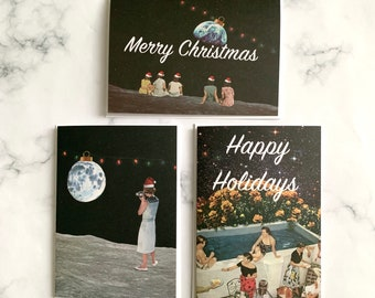 Christmas cards pack, Pack of 3 cards, Christmas Card Pack , Xmas Card Set , Mixed Card Pack