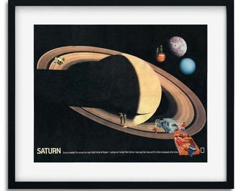Saturn print, universe wall art poster, Travel art, Mid century retro collage art