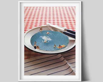 Kitchen art print, Kitchen wall decor, Food art, Illustration, Swimming pool art, Unique prints, Modern art