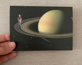 Blank greeting card - Happy birthday card - Thank you card - Saturn art card - Cycling greeting card