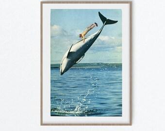Dolphin wall art, Sealife print, Sea Creatures Wall Art, Ocean Nursery Decor,  Boys Room Art
