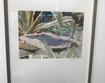 Limited Edition Print of Summer by the swimming pool, Silk printed prints, High quality print