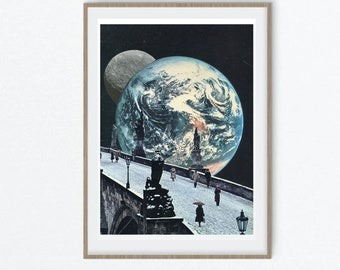 Print wall art, moon art, earth print, travel poster, large art prints
