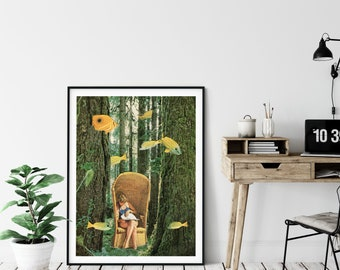 Large tree art print of surreal forest