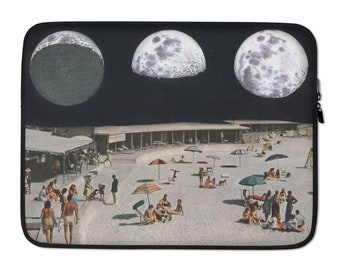 Full moon Laptop Sleeve, Black laptop bag, 13 inch, 15 inch, macbook pro bag, macbook air bag, gift for him or her