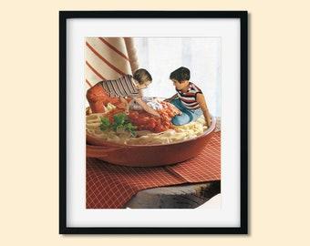 Pasta print, Dinner illustration, Kitchen wall art, Wall decor, Unique artwork, Food illustration, Housewarming gift