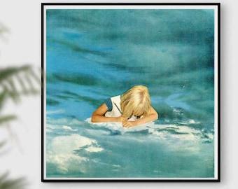 Blue print, sky art, sky print, clouds poster, creator, blue wall decor, square print, 12x12 prints