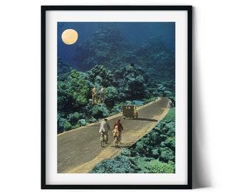 Bathroom art print, Blue poster, Sea ocean art, Gift for bicycle lover