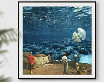 Jellyfish square print , Underwater art, Ocean prints, Sea art, Summer blue print decor