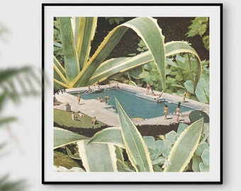 Extra large square print, large wall art, plants and swimming pool art, summer decor, botanical print
