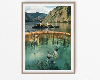 Lake art, Diving gifts, Travel poster, Vintage art