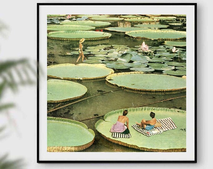 Featured listing image: Plants prints, waterlilies art, waterlilies posters, green poster, nature art, summer prints, summer decor, minimalism art