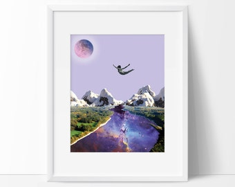 Purple wall art, prints, Nature print, Universe prints, Moon print, Nature Lover Gift, Landscape, Purple Wall Art, Artwork