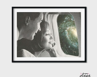 Valentines gift for him, Valentines day decor, love art print, Couples prints , poster, universe