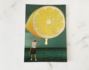 Lemon print - Yellow print - Postcard size art