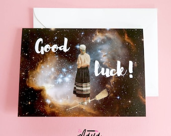 Good luck card, good luck gift, new job card , graduation card,  encouragement card , greetings card , funny card,  new job, driving test