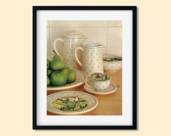 Dinning room prints, Kitchen wall art, Wall decor, Unique artwork, Food illustration, Housewarming gift