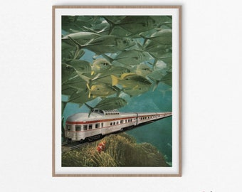 Travel Print - Underwater Travel Train with fish and coral -