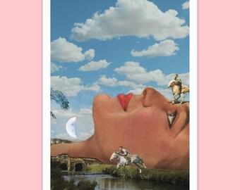 a6 POSTCARD - Travel postcard - Horses art - Small print