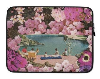 Pink Laptop Sleeve, Floral laptop bag, 13 inch laptop sleeve, 15 inch laptop bag, Protective macbook sleeve