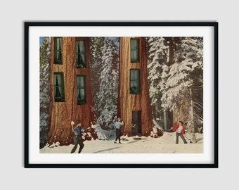 Winter print, Snow wall art, Trees prints, Unique decor, Vintage and retro