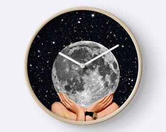 Full Moon Wall Clock - Unique wall clock - moon wall clock - lunar clock