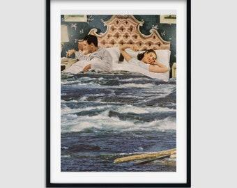 Ocean print, Sea art, Bedroom wall art decor, Blue, Couple housewarming gift