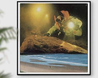 Beach art  print, Square print in the UK, Diving art, Fantasy art, Seaside prints