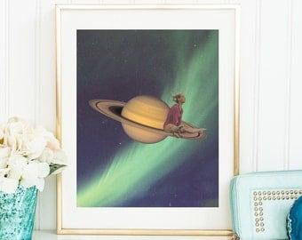 Large wall art -  Planet prints - Nothern lights - Saturn print
