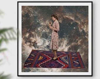 Large square print, 12x12, 14x14, 16x16, 18x18, Universe, Female art print, Wine art