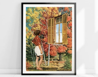 Autumn nature print, Fall poster, Gift for autumn lover