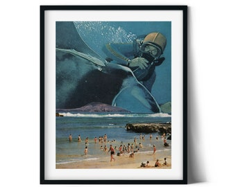 Blue wall art, Beach print, Tropical poster, Home and office decor, Summer prints