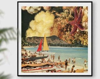 Print wall art, Beach wall decor, Underwater cities, Coral, Star fish, Summer, Bright yellow art