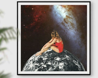 Square poster, large prints, 12x12 print, gift for her, moon illustraion, full moon, moon art, universe prints